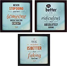 INDIANARA 3 Piece Set of Framed Wall Hanging Motivational Office Decor Art Prints 8.7 INCH X 8.7 INCH Without Glass