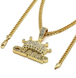 "14k Gold Plated Cz CROWN CHAMP Hip Hop Pendant 3mm 24"" Cuban Chain Necklace"