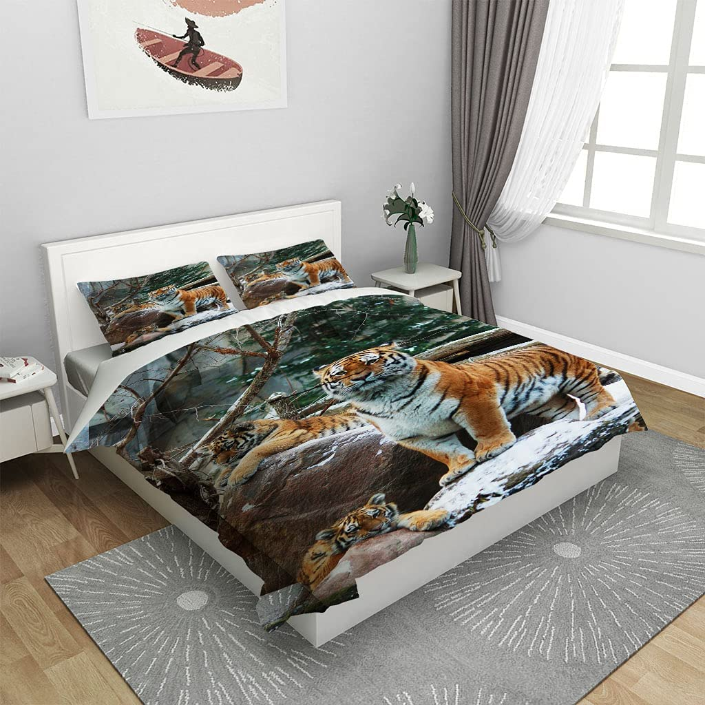 DERFG-Fantasy Duvet Cover 9DTiger Max 87% OFF Playing The Microfibe in Water Wholesale