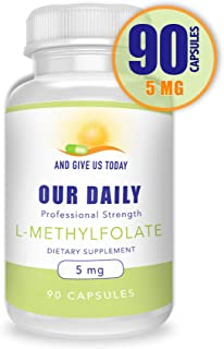 Our Daily Vites L-Methylfolate 5 mg / 5000 mcg Maximum Strength Active Folate, 5-MTHF, Filler Free, Gluten Free, Non-GMO, Vegetarian Capsules 90 Count (3 Month Supply)