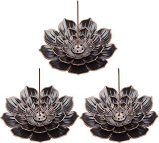 3 Pack Lotus Brass Incense Holder Lotus Stick Incense Burner Cone Incense Burner Holder for Home Fragrance Accessories (An...