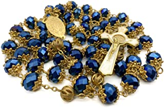 Nazareth Store Deep Blue Crystal Beads Rosary St Benedict Beaded Necklace Gold Plated 10mm Catholic Rosary Beads Miraculous Medal & San Benito Cross - Velvet Bag