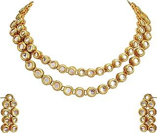 Zephyrr Indian Ethnic Necklace Kundan Choker Gold Necklace Earrings Set for Women Wedding Party Wear Fashion Jewelry for W...