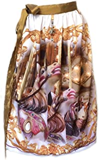 PantoffelDIVA , Schürzenliesl Schürzenliesl,Designer Dirndl Schürze Karusellpferde, Gold Rose farben, Paillettenband in Flieder