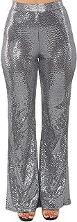 Ohvera Women's Glitter Sequin High Waist Long Wide Leg...