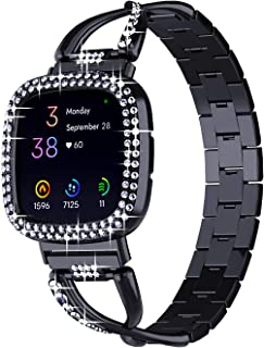OMEE Metal Band and Case Compatible with Fitbit Sense/Fitbit Versa 3 Watch, Women Girl Bling Stainless Steel Strap with Bl...