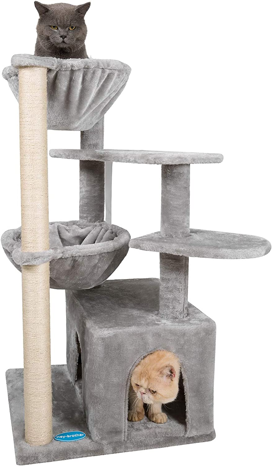 Hey-brother Multi-Level Cat Tree Condo Furniture with Sisal-Covered Scratching Posts for Kittens, Cats and Pets
