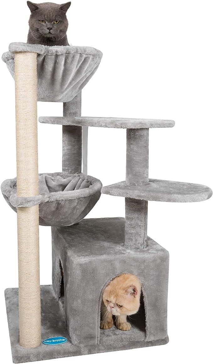 Hey brother Mehrebenen Kratzbaum Kletterbaum, Katzenbaum mit Sisal  Kratzbäumen, Katzenmöbel mit 8 Großer Höhlen und 8 Hängematte Hellgrau  EMPJ8W