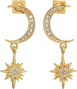 Crescent and Star Drop Earrings