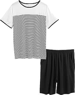 luxilooks Men's Sleepwear Classic Striped Loungewear Short Sleeve Pajamas with Pj Shorts Set S-XXL