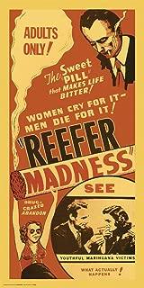 Culturenik Reefer Madness (red) Weed Marijuana Pot Novelty Drug Smoking Humor Print (Unframed 12x24 Poster)
