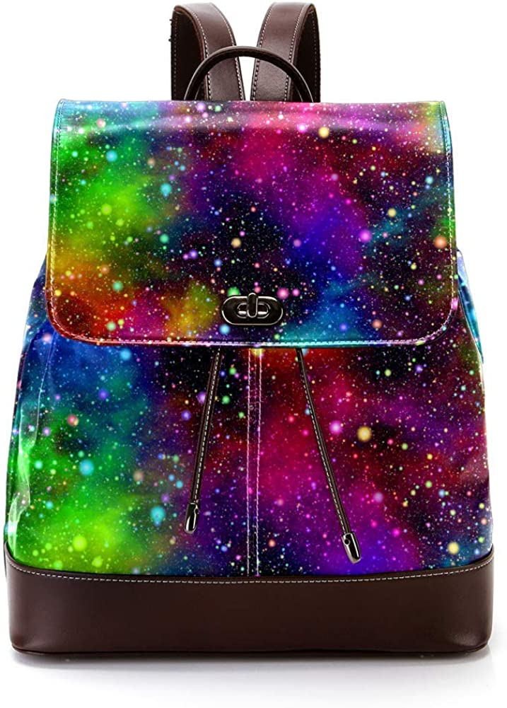 Abstract Universe Nebula Night Starry Sky Rainbow Colors PU Leather Backpack Fashion Shoulder Bag Rucksack Travel Bag for Women Girls
