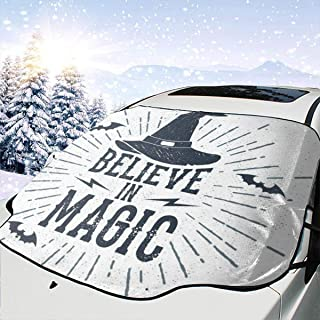 HONGSH Car Windshield Snow Covers Sunshade Universal Believe in Magic Witch Hat Bats Ice Defense No Scratches UV and Sun Protection Fit Most Cars
