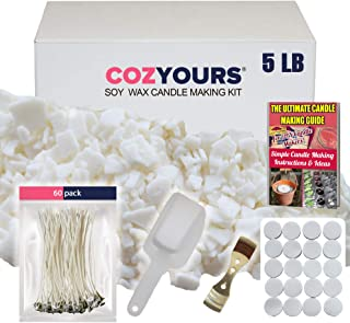 Cozyours Soy Wax Candle Making Kit (5 Lbs): 60 Candle Wicks, 20 Stickers, 1 Centering Device, 1 Scoop