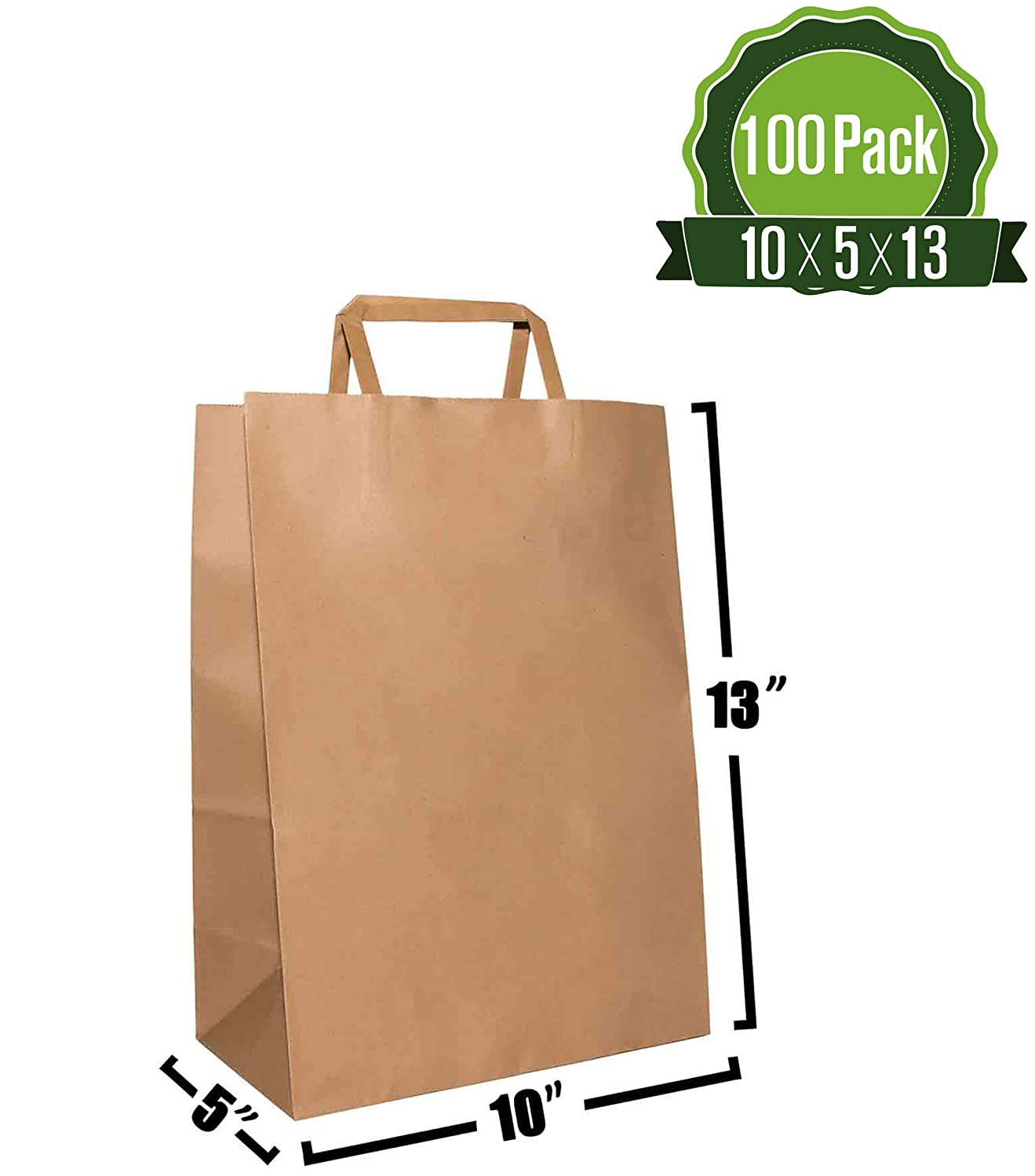 Kraft Paper Gift Bags Bulk with Flat Handles [ Ideal for Shopping, Packaging, Retail, Party, Craft, Gifts, Wedding, Recycled, Business, Goody and Merchandise Bag] (100 Count) (Brown)