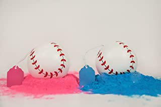 2 Gender Reveal Exploding Baseballs Set Pink and Blue Powder, Sex Reveal Party - Team Pink Girl and Team Blue Boy - Loaded With MORE Powder! (1 Pink & 1 Blue Ball)