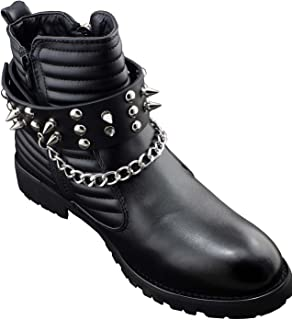 Men Biker Punk Boots Bracelets Silver Chain Black Pair Leather Strap Spikes (with chain(one pair))