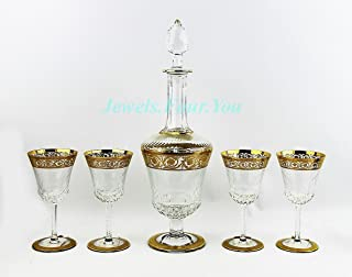 SAINT ST. LOUIS FOR HERMES SET WINE DECANTER & 4 GLASSES 24K GOLD