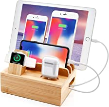 ایستگاه شارژر بامبو برای چندین دستگاه ایستگاه شارژ USB Sendowtek 6 در 1 با 5 پورت برای تبلت تلفن همراه ، پایه نگهدارنده ایستگاه اتصال ایستگاه سازنده 5 کابل مخلوط