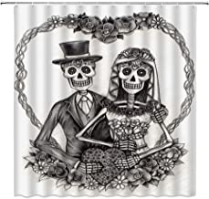 Sweet Skull Lover Shower Curtain Halloween Decor Wedding Skeleton Bride and Groom Happy Smiling with Heart Image Romance Design Art Print,Waterproof Gray White Fabric Hooks Included 70x70 Inch