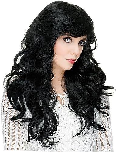 Dolity 22 Pouces Femme Perruque en Réel Cheveux Humains Noirs Longs et Naturel Bouclés pour Soirée, Mariage, Rencontres