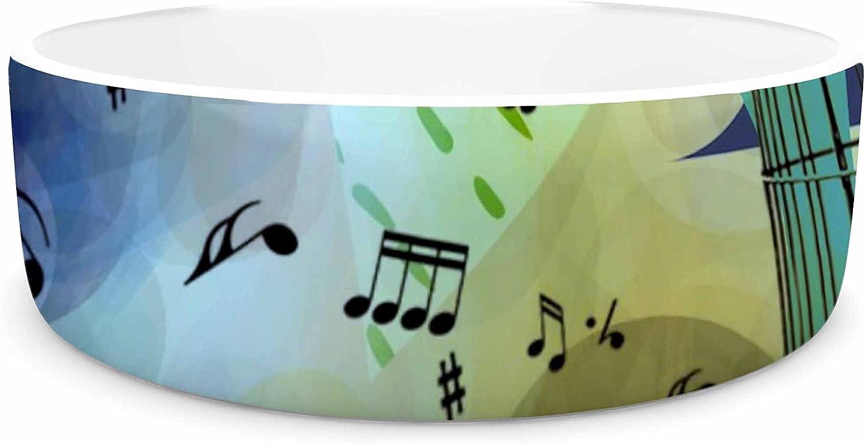 KESS InHouse Alyzen Moonshadow BIKE to The MOON  Pink Green Pet Bowl, 7