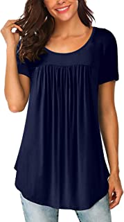 Women's Scoop Neck Pleated Blouse Solid Color Tunic Tops...