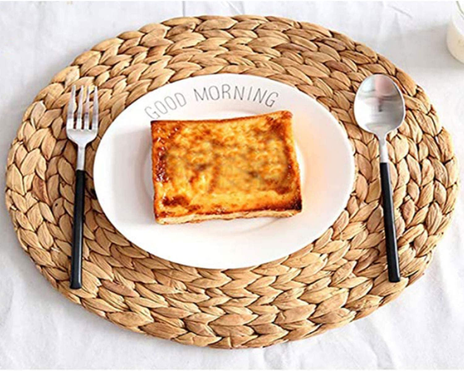 Set Popularity of 2 Round Woven Placemats Water Hyacinth for Dining Table High quality new