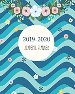 2019-2020 Academic Planner: Wave 3D Navy Blue Cover for 24 Months and Weekly Calendar Schedule Organizer with Holidays 8