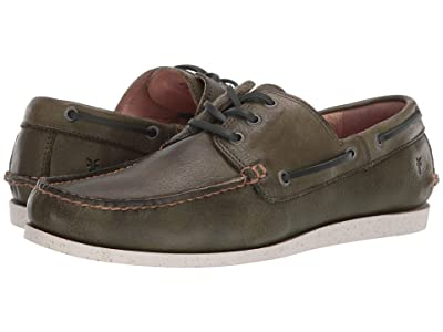 Frye Briggs Boat Shoe (Green Antique Tumbled Veg Tan) Men