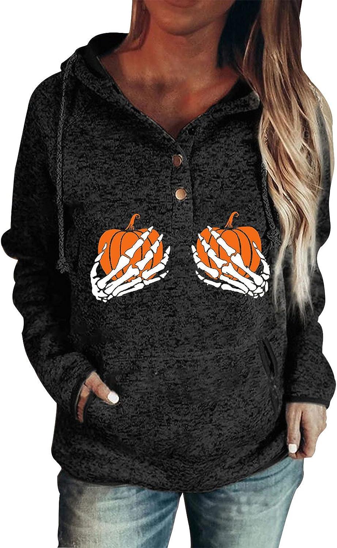 Womens Halloween Pumpkin Skull Hands Bra Print Hoodies Long Sleeve Button Up Drawstring Pullover Tops With Pockets