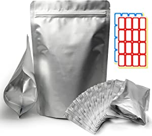 25pcs Mylar Bags for Food Storage 1 Gallon Foil Bags Resealable Ziplock Bags(4.72 Mil )Family Daily Life for Food Long-term Storage Coffee, Tea, Cereal, Heat Resealable, Food Grade (10X14IN)