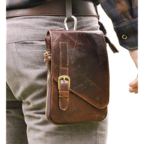f839887755b3 Le aokuu Mens Genuine Leather Coffee Fanny Small Messenger Shoulder Satchel Waist  Bag Pack