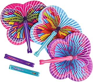 ArtCreativity Abanicos plegables de mariposa de 9.5 pulgadas, paquete de 12 abanicos plegables en varios colores y diseños...