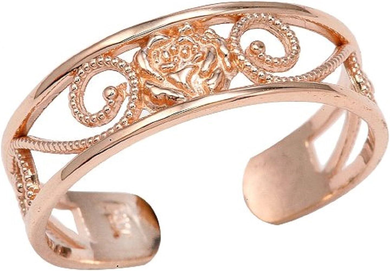 Ladies 14k Rose Gold Filigree Pink Flower Adjustable Toe Ring