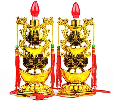 Chinese Feng Shui Crafts Yuanbao Lamp Decoration for Buddha Electric Candle Light Changming Electric Candle Holder for Buddha