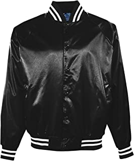 Adult Satin Baseball Jacket with Striped Trim from