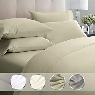 California Design Den 1000-Thread-Count 100% Pure Cotton Sheets - 4 Piece King Soft Sheet Set, Egyptian Quality Sateen Weave Taupe Bed Sheets, Deep Pocket Fits Mattress Upto 18 Inches