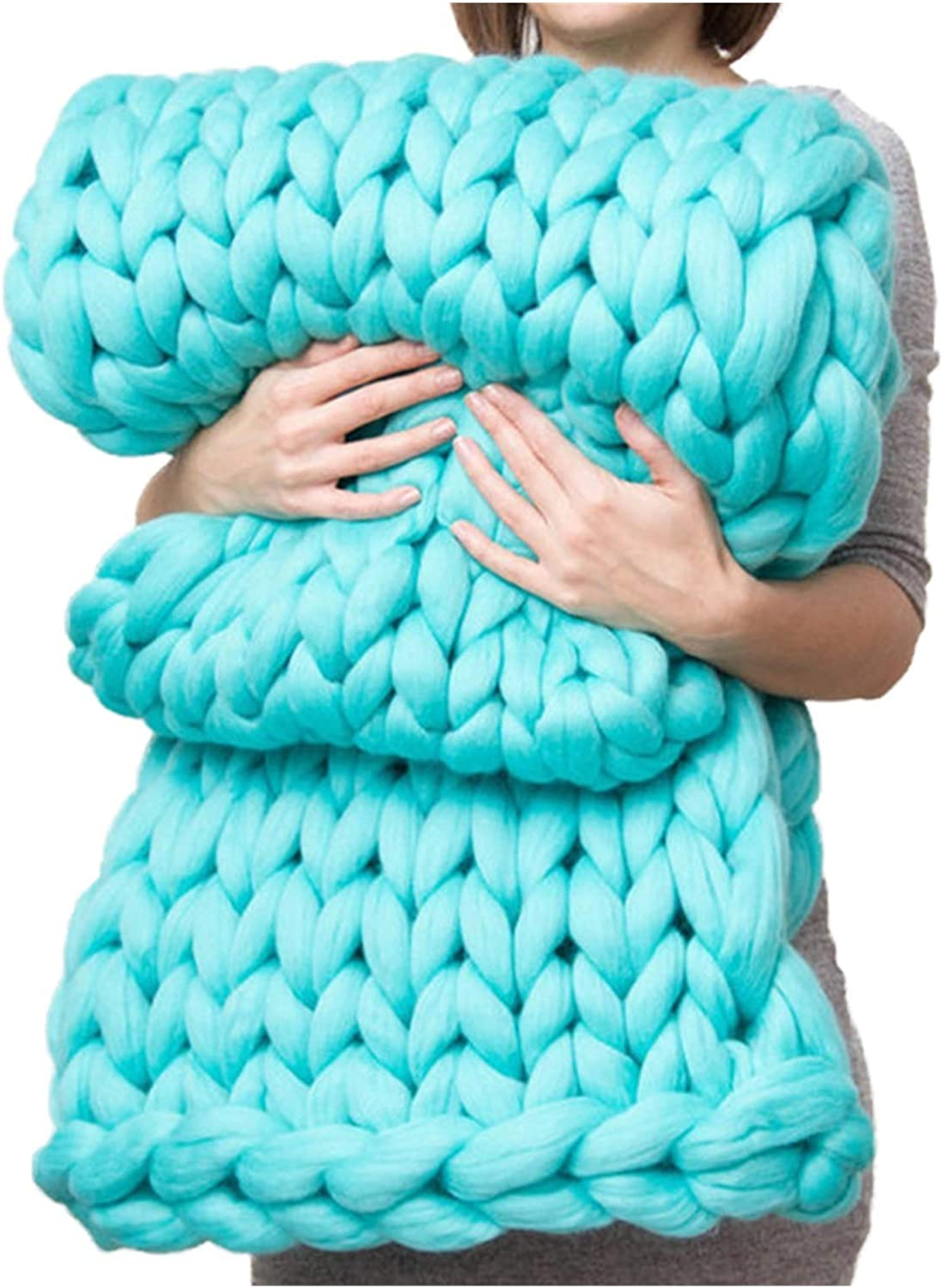 Over item handling ☆ JDJD Bed Blanket Hand Made Big Thick Merino Max 81% OFF Wool Chunky