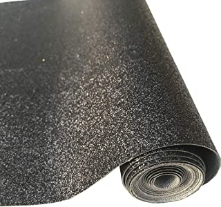 """ZAIONE 8"""" x 53"""" (21cm x 135cm) Roll Sparkly Superfine Glitter Vinyl Fabric Fine Glitter PU Leather Canvas Back Material for Shoes Bag Sewing Patchwork DIY Bow Craft Applique(Black)"""