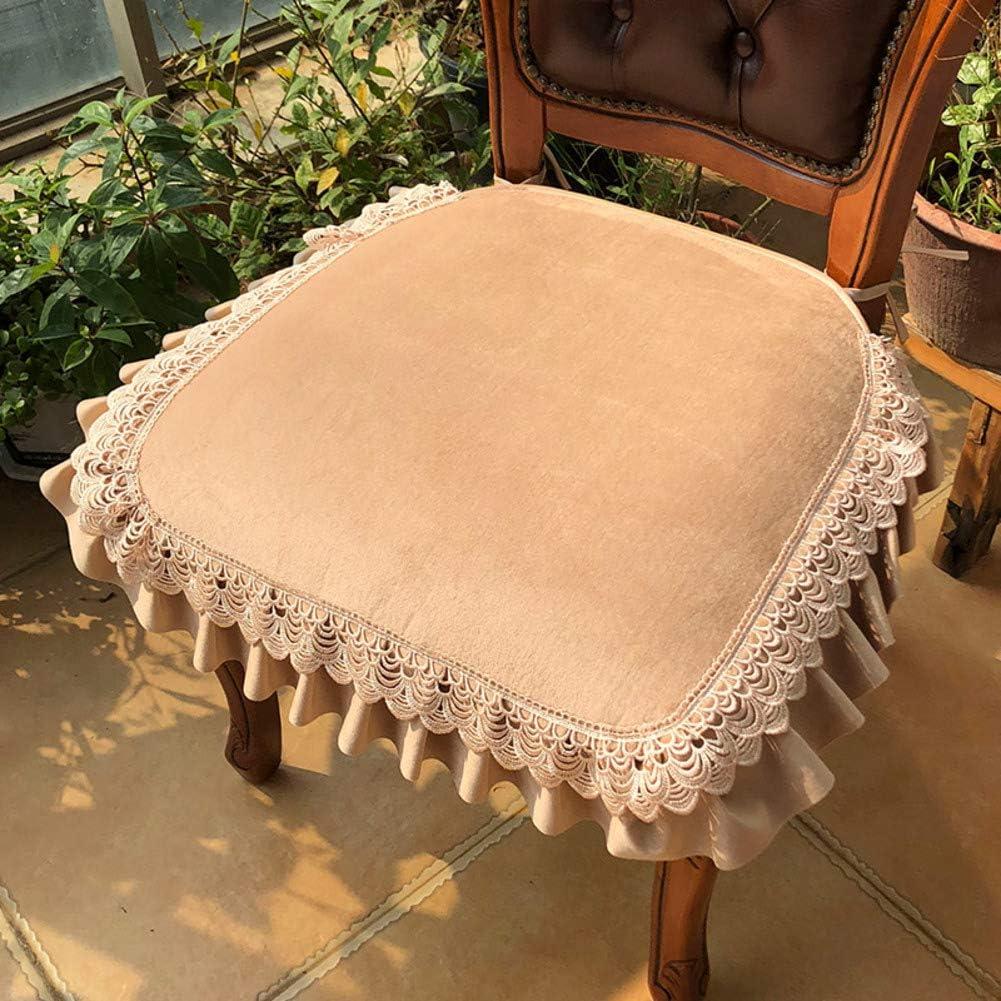 Plush Chair Cushion Solid Color 国内即発送 Not-Slip 大幅値下げランキング Macrame Lace Pad