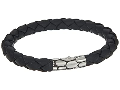 John Hardy Kali 8mm Station Bracelet in Black Leather (Silver/Black) Bracelet