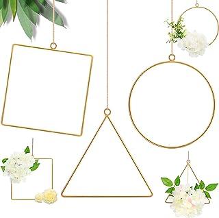 DILNAZ ART 6 Pieces Metal Floral Hoop Wreath Geometric Hoop Wreath Frame Round Triangle Square Hoop Frame Flower Garland H...