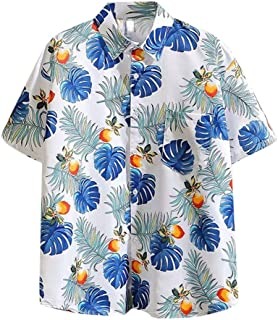 SPE969 Men's Hawaiian Casaul Button Down Shirt, 2 Colors Short Sleeve Print Shirt Vacation Casual Lapel Shirt White