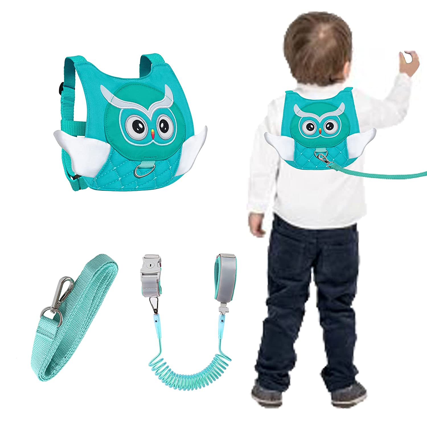 Owl Toddlers Safety Harness with Leashes Kids Anti Lost Wrist Leash Link Wristlets (Owl Green)