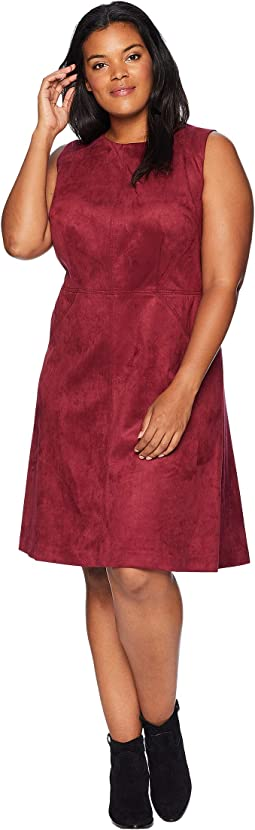 Plus Size Scuba Suede Fit and Flare Dress