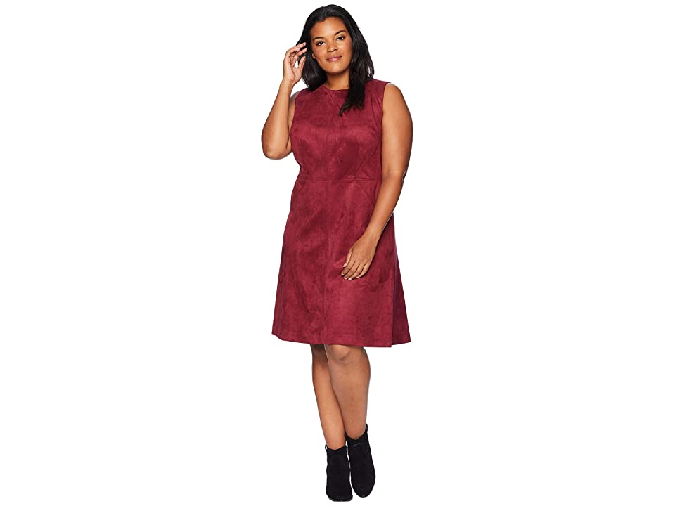 Adrianna Papell Plus Size Scuba Suede Fit and Flare Dress (Garnet) Women