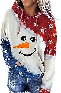 MFFACAI Sudadera Mujer, Tops navideños para Mujer, muñeco de Nieve para Mujer, Camisetas de Manga Larga con Contraste de C...