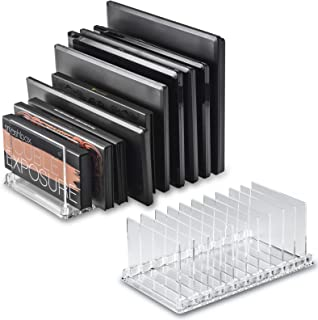 byAlegory Acrylic Makeup Eyeshadow Palette Organizer W/Removable Dividers | 10 Space Vanity Desk Storage Fits All Palette Sizes - Clear