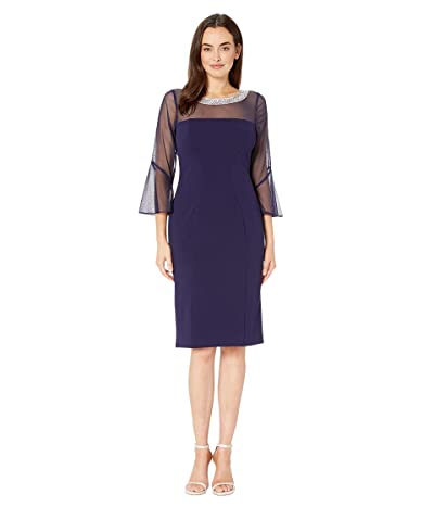 Alex Evenings Short Shift Dress with Beaded Illusion Neckline and Bell Sleeves (Navy) Women